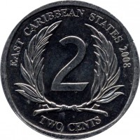 reverse of 2 Cents - Elizabeth II - 4'th Portrait (2002 - 2011) coin with KM# 35 from Eastern Caribbean States. Inscription: EAST CARIBBEAN STATES 2004 2 TWO CENTS