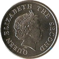 obverse of 25 Cents - Elizabeth II - 4'th Portrait (2002 - 2007) coin with KM# 38 from Eastern Caribbean States. Inscription: QUEEN ELIZABETH THE SECOND