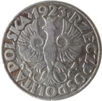obverse of 50 Groszy (1923) coin with Y# 13 from Poland. Inscription: · 1923 · RZECZPOSPOLITA POLSKA