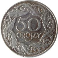 reverse of 50 Groszy (1923) coin with Y# 13 from Poland. Inscription: 50 GROSZY