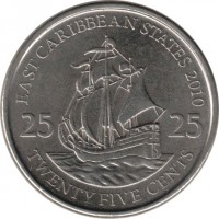 reverse of 25 Cents - Elizabeth II - Magnetic; 4'th Portrait (2010) coin with KM# 38a from Eastern Caribbean States. Inscription: EAST CARIBBEAN STATES 2010 25 25 TWENTY FIVE CENTS