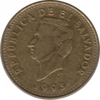 obverse of 1 Centavo (1995) coin with KM# 135.2c from El Salvador. Inscription: REPÚBLICA DE EL SAVADOR 1995