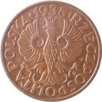 obverse of 2 Grosze (1925 - 1939) coin with Y# 9a from Poland. Inscription: RZECZPOSPOLITA POLSKA · 1937 ·