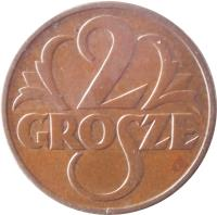 reverse of 2 Grosze (1925 - 1939) coin with Y# 9a from Poland. Inscription: 2 GROSZE