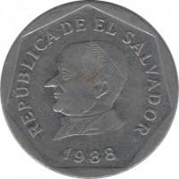 obverse of 25 Centavos (1988) coin with KM# 157 from El Salvador. Inscription: REPUBLICA DE EL SALVADOR 1988