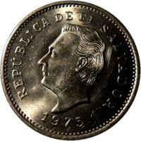 obverse of 10 Centavos (1975) coin with KM# 150 from El Salvador.
