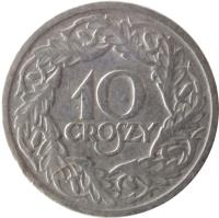 reverse of 10 Groszy (1923) coin with Y# 11 from Poland. Inscription: 10 GROSZY
