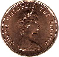 obverse of 1 Penny - Elizabeth II - 2'nd Portrait (1974 - 1992) coin with KM# 2 from Falkland Islands. Inscription: QUEEN ELIZABETH THE SECOND