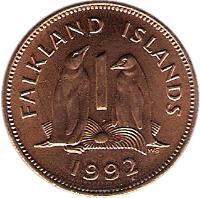 reverse of 1 Penny - Elizabeth II - 2'nd Portrait (1974 - 1992) coin with KM# 2 from Falkland Islands. Inscription: FALKLAND ISLANDS 1 WG 1992