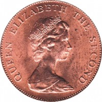 obverse of 2 Pence - Elizabeth II - 2'nd Portrait (1974 - 1992) coin with KM# 3 from Falkland Islands. Inscription: QUEEN ELIZABETH THE SECOND