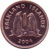 reverse of 1 Penny - Elizabeth II - 4'th Portrait (2004 - 2011) coin with KM# 130 from Falkland Islands. Inscription: FALKLAND ISLANDS 1 WG 2004