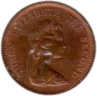 obverse of 1/2 Penny - Elizabeth II - 2'nd Portrait (1974 - 1983) coin with KM# 1 from Falkland Islands. Inscription: QUEEN ELIZABETH THE SECOND