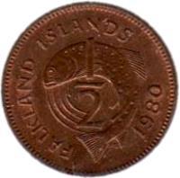 reverse of 1/2 Penny - Elizabeth II - 2'nd Portrait (1974 - 1983) coin with KM# 1 from Falkland Islands. Inscription: FALKLAND ISLANDS 1 2 1974