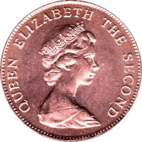 obverse of 1 Penny - Elizabeth II - 2'nd Portrait (1998 - 1999) coin with KM# 2a from Falkland Islands. Inscription: QUEEN ELIZABETH THE SECOND