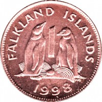 reverse of 1 Penny - Elizabeth II - 2'nd Portrait (1998 - 1999) coin with KM# 2a from Falkland Islands. Inscription: FALKLAND ISLANDS 1 WG 1998