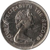 obverse of 5 Pence - Elizabeth II - Larger; 2'nd Portrait (1974 - 1992) coin with KM# 4.1 from Falkland Islands. Inscription: QUEEN ELIZABETH THE SECOND