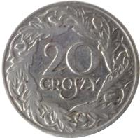 reverse of 20 Groszy - Magnetic (1923) coin with Y# 12 from Poland. Inscription: 20 GROSZY