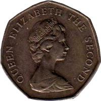 obverse of 50 Pence - Elizabeth II - Larger; 2'nd Portrait (1980 - 1995) coin with KM# 14.1 from Falkland Islands. Inscription: QUEEN ELIZABETH THE SECOND