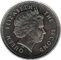 obverse of 10 Pence - Elizabeth II - 4'th Portrait (2004) coin with KM# 133 from Falkland Islands. Inscription: QUEEN ELIZABETH THE SECOND IRB