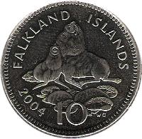 reverse of 10 Pence - Elizabeth II - 4'th Portrait (2004) coin with KM# 133 from Falkland Islands. Inscription: FALKLAND ISLANDS 10 2004 WG
