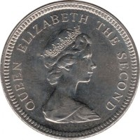 obverse of 10 Pence - Elizabeth II - Smaller; 2'nd Portrait (1998 - 1999) coin with KM# 5.2 from Falkland Islands. Inscription: QUEEN ELIZABETH THE SECOND