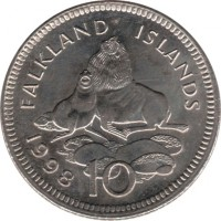 reverse of 10 Pence - Elizabeth II - Smaller; 2'nd Portrait (1998 - 1999) coin with KM# 5.2 from Falkland Islands. Inscription: FALKLAND ISLANDS 1998 10