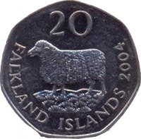 reverse of 20 Pence - Elizabeth II - 4'th Portrait (2004) coin with KM# 134 from Falkland Islands. Inscription: 20 FALKLAND ISLANDS 2004