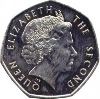 obverse of 50 Pence - Elizabeth II - 4'th Portrait (2003 - 2004) coin with KM# 135 from Falkland Islands. Inscription: QUEEN ELIZABETH THE SECOND