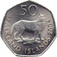 reverse of 50 Pence - Elizabeth II - 4'th Portrait (2003 - 2004) coin with KM# 135 from Falkland Islands. Inscription: 50 FALKLAND ISLANDS 2004