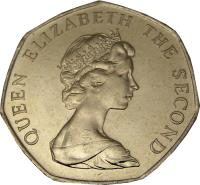 obverse of 50 Pence - Elizabeth II - Smaller; 2'nd Portrait (1998 - 1999) coin with KM# 14.2 from Falkland Islands. Inscription: QUEEN ELIZABETH THE SECOND