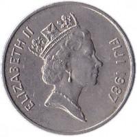 obverse of 10 Cents - Elizabeth II - 3'rd Portrait (1986 - 1987) coin with KM# 52 from Fiji. Inscription: ELIZABETH II FIJI 1987