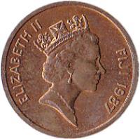obverse of 1 Cent - Elizabeth II - 3'rd Portrait (1986 - 1987) coin with KM# 49 from Fiji. Inscription: ELIZABETH II FIJI 1986