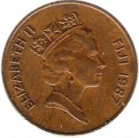 obverse of 2 Cents - Elizabeth II - 3'rd Portrait (1986 - 1987) coin with KM# 50 from Fiji. Inscription: ELIZABETH II FIJI 1987