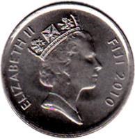 obverse of 5 Cents - Elizabeth II - 3'rd Portrait (2009 - 2010) coin with KM# 119 from Fiji. Inscription: ELIZABETH II FIJI 2009