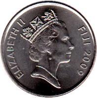 obverse of 20 Cents - Elizabeth II - 4'th Portrait (2009 - 2010) coin with KM# 121 from Fiji. Inscription: ELIZABETH II FIJI 2009