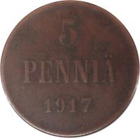 reverse of 5 Penniä - Nicholas II - Civil War Coinage (1917) coin with KM# 17 from Finland. Inscription: 5 PENNIÄ 1917