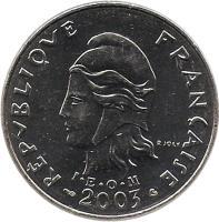 obverse of 20 Francs (1972 - 2005) coin with KM# 9 from French Polynesia. Inscription: RÉPUBLIQUE FRANÇAISE I · E · O · M 1973 R. JOLY