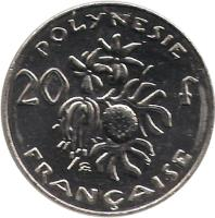 reverse of 20 Francs (1972 - 2005) coin with KM# 9 from French Polynesia. Inscription: POLYNESIE FRANÇAISE 20 f