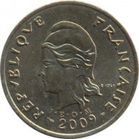 obverse of 100 Francs (2006 - 2013) coin with KM# 14a from French Polynesia. Inscription: REPUBLIQUE FRANÇAISE I · E · O · M 2009 R. JOLY