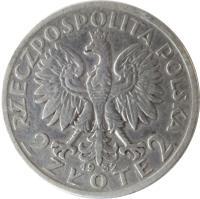 obverse of 2 Złote (1932 - 1934) coin with Y# 20 from Poland. Inscription: RZECZPOSPOLITA POLSKA 2 ZŁOTE 2
