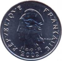 obverse of 10 Francs (2006 - 2014) coin with KM# 8a from French Polynesia. Inscription: REPUBLIQUE FRANÇAISE R JOLY I.E.O.M 2002