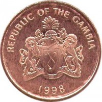 obverse of 5 Bututs (1998) coin with KM# 55 from Gambia. Inscription: REPUBLIC OF THE GAMBIA PROGRESS PEACE PROSPERITY 1998