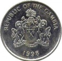 obverse of 50 Bututs (1998) coin with KM# 58 from Gambia. Inscription: REPUBLIC OF THE GAMBIA PROGRESS PEACE PROSPERITY 1998