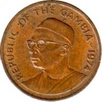 obverse of 1 Butut - FAO (1974 - 1985) coin with KM# 14 from Gambia. Inscription: REPUBLIC OF THE GAMBIA - 1974