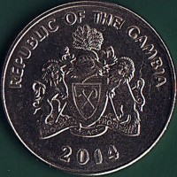 obverse of 50 Bututs (2008 - 2016) coin with KM# 58a from Gambia. Inscription: REPUBLIC OF THE GAMBIA PROGRESS PEACE PROSPERITY 2008