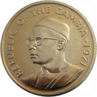 obverse of 25 Bututs (1971) coin with KM# 11 from Gambia. Inscription: REPUBLIC OF THE GAMBIA 1971