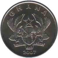 obverse of 5 Pesewas (2007 - 2012) coin with KM# 38 from Ghana. Inscription: GHANA 2007