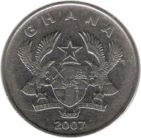 obverse of 50 Pesewas (2007) coin with KM# 41 from Ghana. Inscription: GHANA FREEDOM AND JUSTICE 2007
