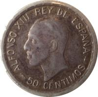 obverse of 50 Centimos - Alfonso XIII - 6'th Portrait (1926) coin with KM# 741 from Spain. Inscription: ALFONSO XIII REY DE ESPAÑA 50 CENTIMOS