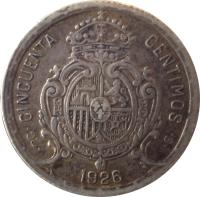reverse of 50 Centimos - Alfonso XIII - 6'th Portrait (1926) coin with KM# 741 from Spain. Inscription: · PC · CINCUENTA CENTIMOS 1926 · S ·